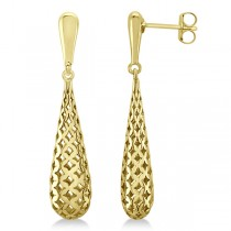 Pierced Style Teardrop Dangle Earrings in Plain Metal 14k Yellow Gold