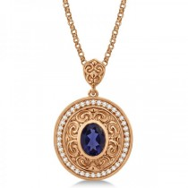 Vintage Diamond Iolite Pendant Necklace in 14k Rose Gold (1.75ct)