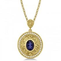 Vintage Diamond Iolite Pendant Necklace in 14k Yellow Gold (1.75ct)