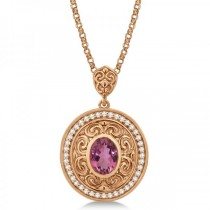 Vintage Diamond Pink Tourmaline Pendant Necklace 14k Rose Gold (1.75ct)