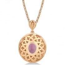 Vintage Diamond Pink Tourmaline Pendant Necklace 14k Rose Gold (1.75ct)