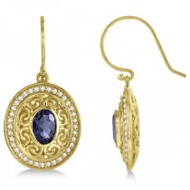 Diamond Accented Iolite Drop Earrings in 14k Yellow Gold (1.33ct)