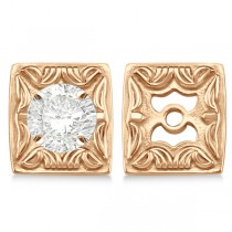 Scrollwork Fashion Earring Jackets in Plain Metal 14k Rose Gold