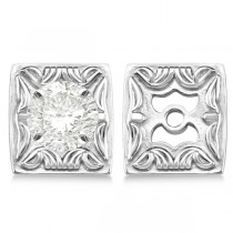 Scrollwork Fashion Earring Jackets in Plain Metal 14k White Gold