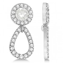 Ladies Teardrop Dangle Diamond Earring Jackets 14k White Gold (0.38ct)