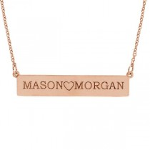 Personalized Engravable Bar Pendant Necklace in Solid 14k Rose Gold