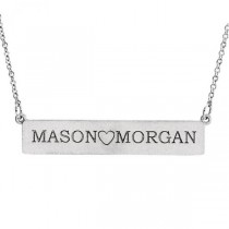 Personalized Engravable Bar Pendant Necklace in Solid 14k White Gold