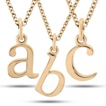 Lower-Case Block Letter Single Initial Pendant Necklace 14k Rose Gold