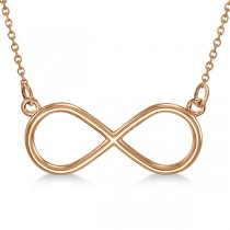 Ladies Sideways Infinity Loop Pendant w/ 18 inch chain 14k Rose Gold
