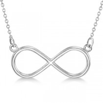 Ladies Sideways Infinity Loop Pendant w/ 18 inch chain 14k White Gold
