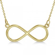 Ladies Sideways Infinity Loop Pendant w/ 18 inch chain 14k Yellow Gold