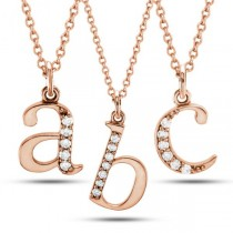 Lowercase Diamond Block Letter Initial Pendant in 14k Rose Gold