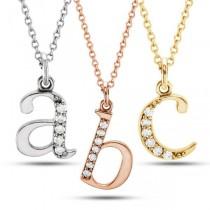 Lowercase Diamond Block Letter Initial Pendant in 14k Rose Gold