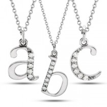 Lowercase Diamond Block Letter Initial Pendant in 14k White Gold