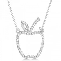 Diamond Accented Apple Pendant Necklace 14k White Gold (0.20ct)