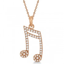Sixteenth Music Note Pendant Diamond Necklace 14k Rose Gold 0.20ct