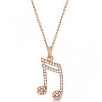 Sixteenth Music Note Pendant Diamond Necklace 14k Rose Gold 0.20ct