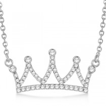 Ladies Diamond Accented Crown Pendant Necklace 14k White Gold 0.20ct
