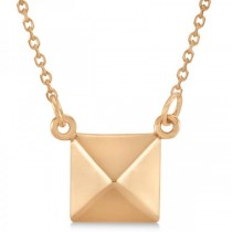 Pyramid Pendant Necklace in Plain Metal 14k Rose Gold