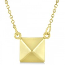 Pyramid Pendant Necklace in Plain Metal 14k Yellow Gold