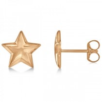 Star Stud Earrings in Plain Metal 14k Rose Gold