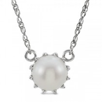 Freshwater Cultured Pearl Solitaire Necklace 14k White Gold 7.50-8mm