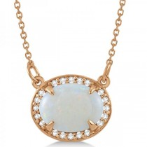 Halo Diamond & Oval Opal Pendant Necklace 14k Rose Gold (2.25ct)