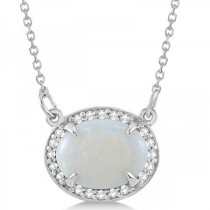 Halo Diamond & Oval Opal Pendant Necklace 14k White Gold (2.25ct)