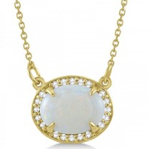 Halo Diamond & Oval Opal Pendant Necklace 14k Yellow Gold (2.25ct)