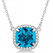 Diamond & Swiss Blue Topaz Pendant Necklace 14k White Gold (2.56ct)