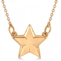 Star Pendant Necklace in Plain Metal 14k Rose Gold