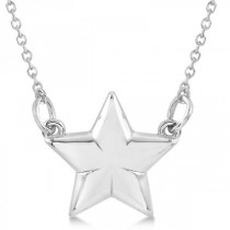 Star Pendant Necklace in Plain Metal 14k White Gold