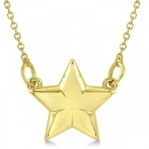 Star Pendant Necklace in Plain Metal 14k Yellow Gold