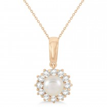 Pearl & Oyster Halo Pendant With Diamonds 14k Rose Gold (5.5-6.0mm)