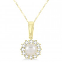 Pearl & Oyster Halo Pendant With Diamonds 14k Yellow Gold (5.5-6.0mm)