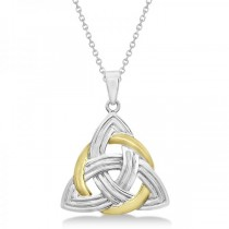 Celtic Knot Pendant Necklace in 14k Two Tone Gold