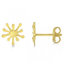 Starbust Stud Earrings in Plain Metal 14k Yellow Gold