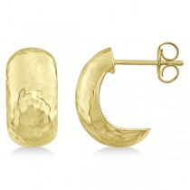 Hammered Hoop Drop Earrings in 14k Yellow Gold