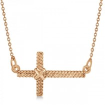 Religious Sideways Rope Cross Pendant Necklace in 14k Rose Gold