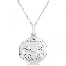 Round Claddagh Locket Pendant Necklace in 14k White Gold