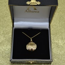 Round Claddagh Locket Pendant Necklace in 14k Yellow Gold