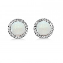 Bezel Set Opal Birthstone Earrings 14k White Gold (1.66ct)|escape