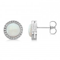 Bezel Set Opal Birthstone Earrings  Platinum  (1.66ct)