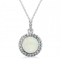 Bezel Set Opal Birthstone Pendant Necklace 14k White Gold (2.00ct)