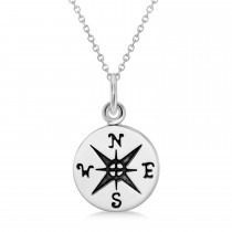 Navigational Compass Pendant Necklace 925 Sterling Silver