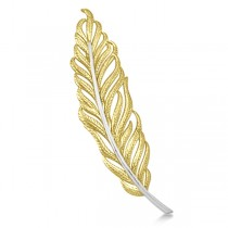 Feather Brooch in Plain Metal 14k Two Tone Gold