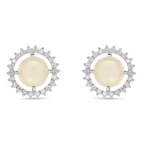 Diamond Opal Sun Style Earrings 14k White Gold (1.36ct)