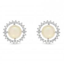 Diamond Opal Sun Style Earrings 14k White Gold (1.36ct)