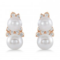 Pearl & Diamond Climber Earrings 14k Rose Gold (5-5.5mm 0.80ctw)