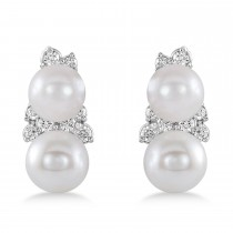 Pearl & Diamond Climber Earrings 14k White Gold  (5-5.5mm 0.80ctw)